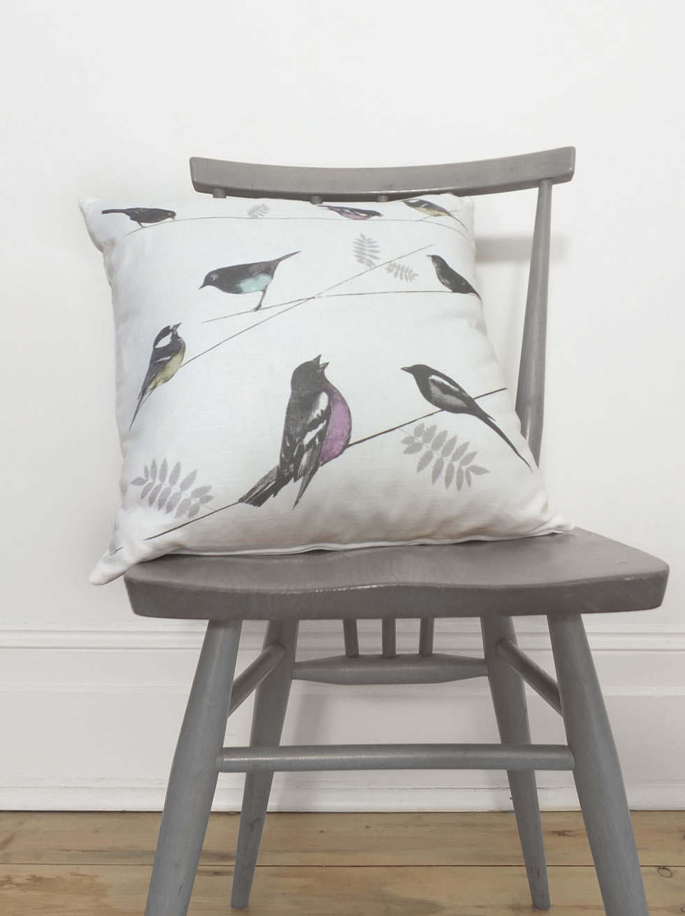 Garden Birds natural cushion