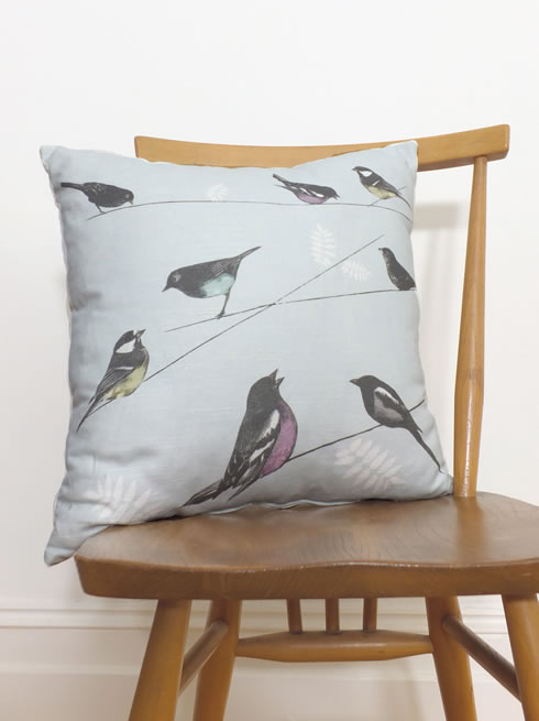 Garden Birds blue cushion. cushion.
