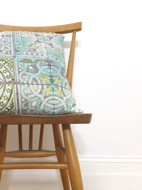 Patchwork Jade cushion. cushion.