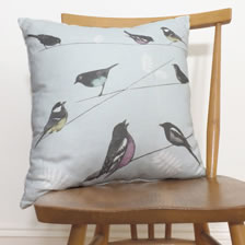 Garden Birds blue cushion. cushion