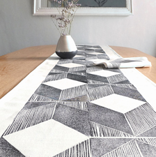 Geometric table runner. fabric