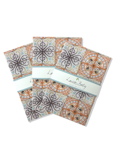 orange rose tea towel 3 pack. tea towels.