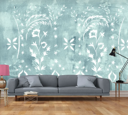 Stencilled Wall Jade. wallpaper.