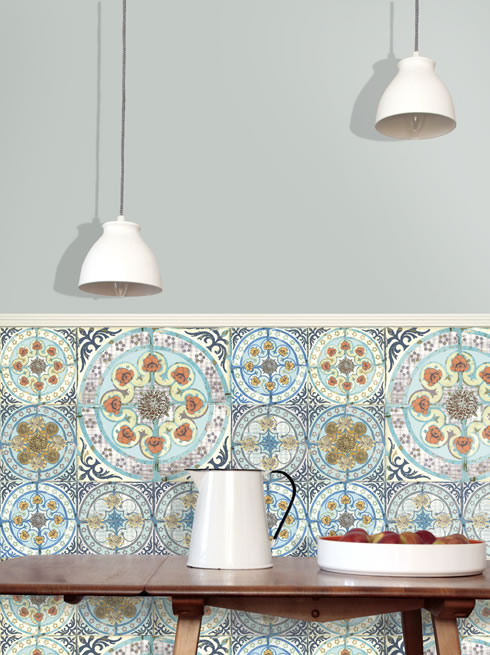 Moroccan style tile wallpaper in brightly coloured for Moroccan wallpaper uk