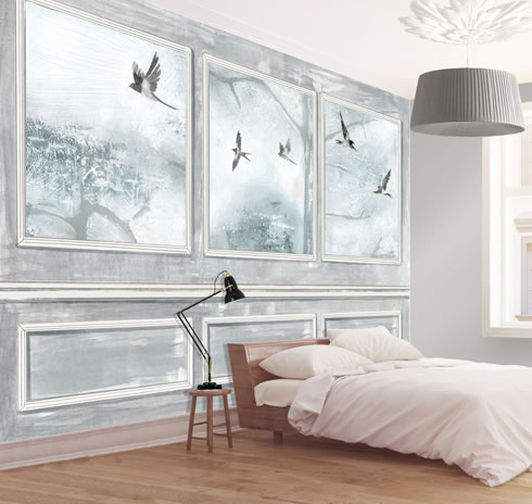 Panelled Wall and Birds Grey. wallpaper.