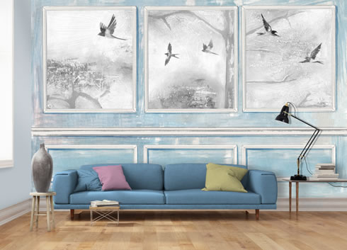 Panelled Wall and Birds Blue. wallpaper.