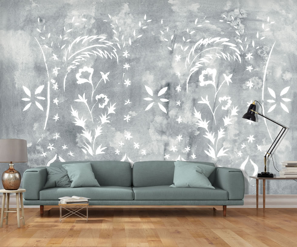 Old wall effect wallpaper stencilled wall mural in grey for Grey wallpaper for walls
