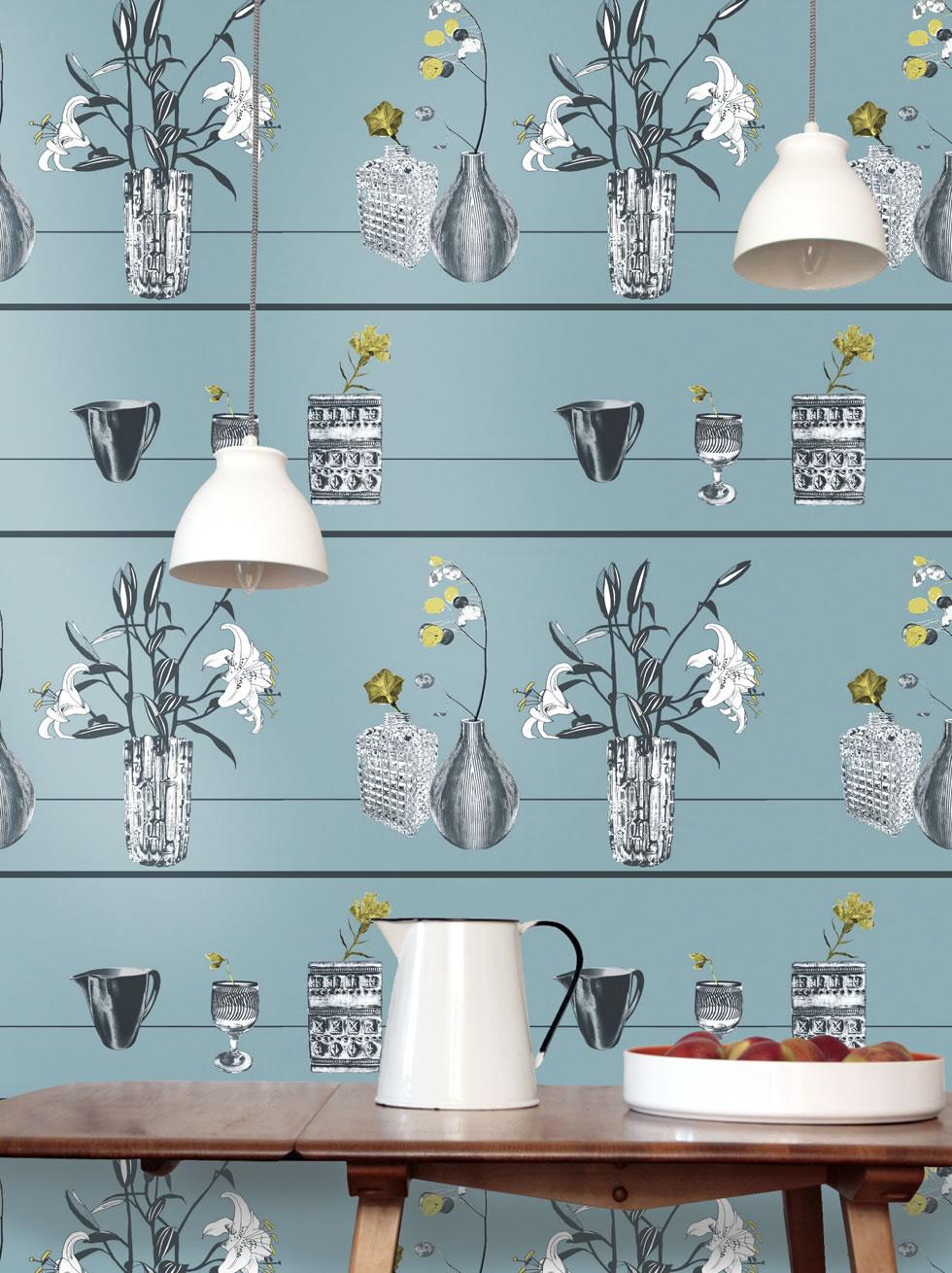 Trompe l 39 oile blue wallpaper for Cheap wallpaper shops