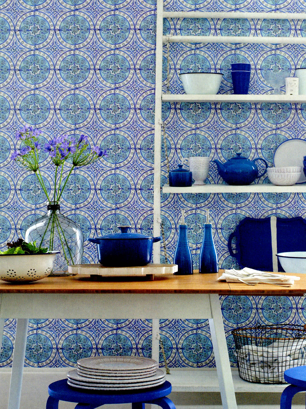 Blue and white moroccan style tile wallpaper for Moroccan style wallpaper