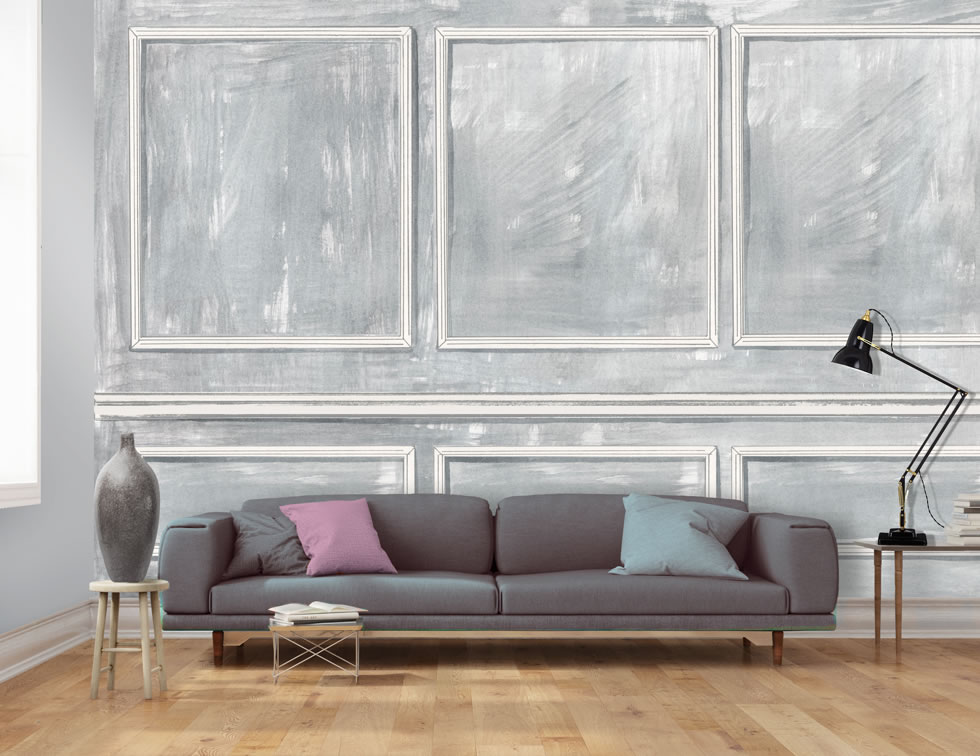 Wall panel effect wallpaper in grey for Panel wallpaper