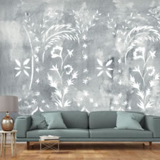 Stencilled Wall Grey. wallpaper