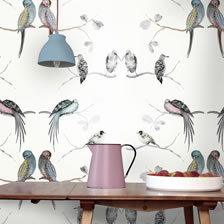 Perched Birds Cream. wallpaper