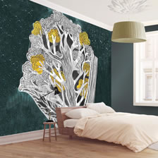 Poppy Tree Emerald Ochre. wallpaper