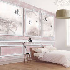 Panelled Wall and Birds Coral. wallpaper