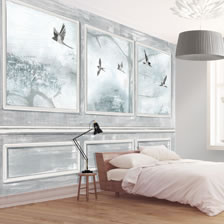 Panelled Wall and Birds Grey. wallpaper