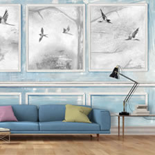 Panelled Wall and Birds Blue. wallpaper